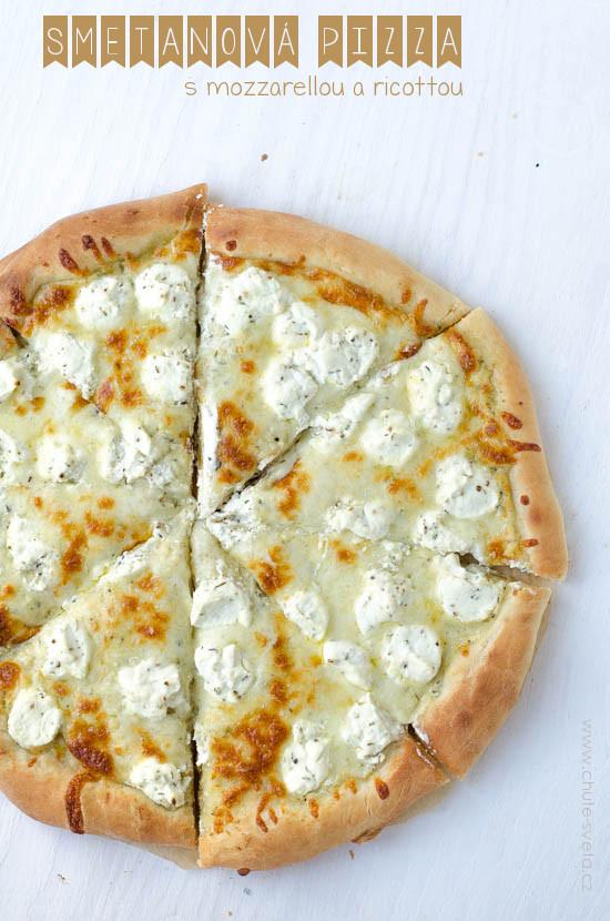 smetanová pizza s mozzarellou a ricottou