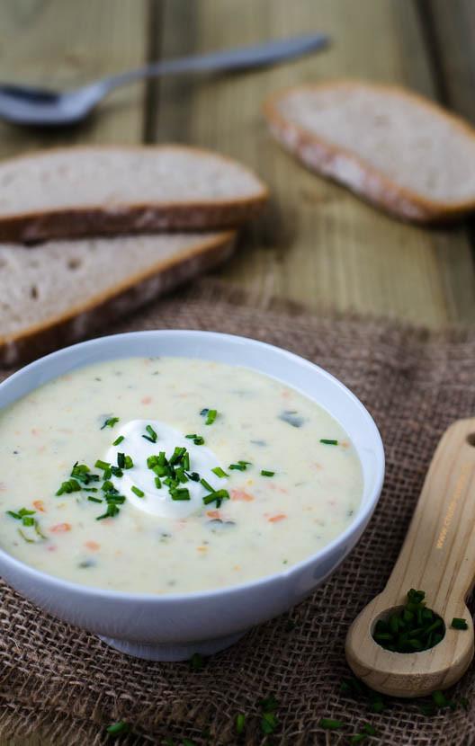 krémová květákové polévka